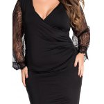 best Trendy Faux Wrap Deep V Neck Lace Spliced Oversized Sheath Dress