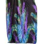 best Elegant Plunge Neck Peacock Feather Print Dolman Sleeve Maxi Dress