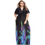 Elegant Plunge Neck Peacock Feather Print Dolman Sleeve Maxi Dress deal