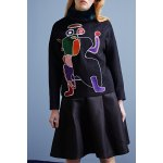 Faux Fur Collar Abstract Pattern Sweatshirt deal