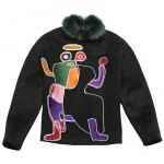Faux Fur Collar Abstract Pattern Sweatshirt photo