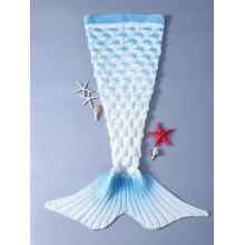 Fashion Crochet Shell Deisgn Knitting Mermaid Tail Shape Blanket For Kids