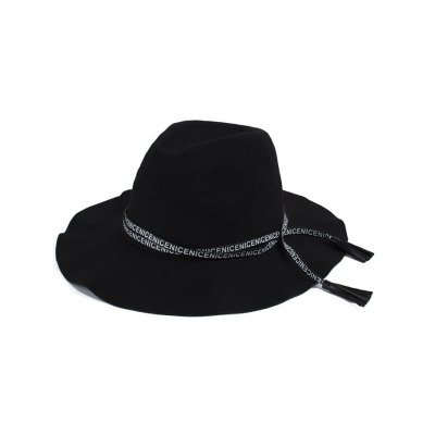 Stylish Letters Lace-Up Faux Suede Black Jazz Hat For Women