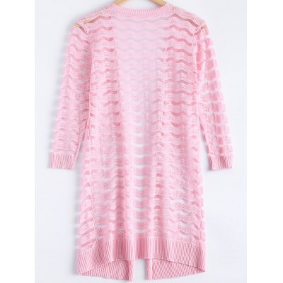 Simple Wave Stripe Candy Pure Color Semi Sheer Cardigan