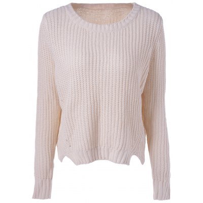Casual Women's Scoop Neck Basic Solid Color Pullover Knit Sweater