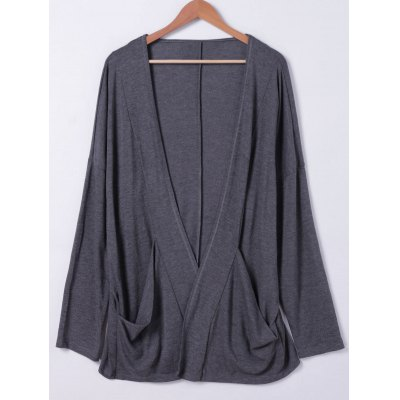 Shawl Collar Pockets Solid Color Long Sleeves Cardigan