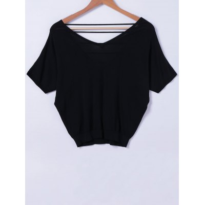 V-Neck Cut Out Back Knit Top For Women