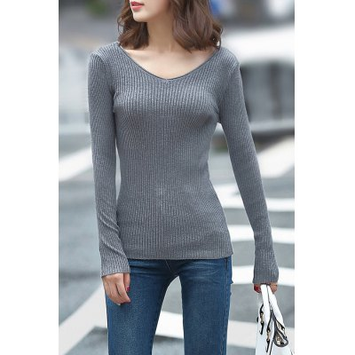 Fitting Knitting Solid Color Sweater