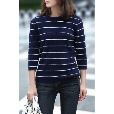 Loose Striped Fuzzy Knitting Sweater