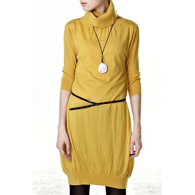 Solid Color Ruched Long Sweater