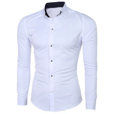 Classic Button-Down Collar Long Sleeve Solid White Shirt For Men