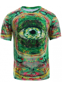 Color Block 3D Eye Print Round Neck Short Sleeve T-Shirt For Men