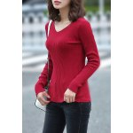 cheap Knitting Solid Color Sweater