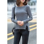 cheap Knitting Side Slit Sweater