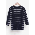 Loose Striped Fuzzy Knitting Sweater for sale