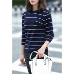 Loose Striped Fuzzy Knitting Sweater deal