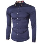 cheap Printed Hem Spliced Turn-Down Collar Long Sleeve Shirt For Men