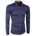 Printed Hem Spliced Turn-Down Collar Long Sleeve Shirt For Men