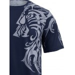 best Tattoo Style Tiger Print Round Neck Short Sleeve T-Shirt For Men