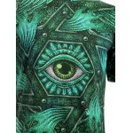 3D Geometric and Print Round Neck Short Sleeve T-Shirt For Men for sale