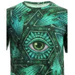 3D Geometric and Print Round Neck Short Sleeve T-Shirt For Men photo