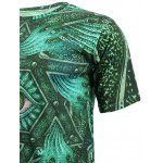 best 3D Geometric and Print Round Neck Short Sleeve T-Shirt For Men