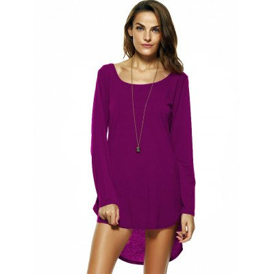 Brief Pure Color High-Low Dress