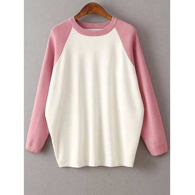 Preppy Style Round Neck Color Block Sweater For Women