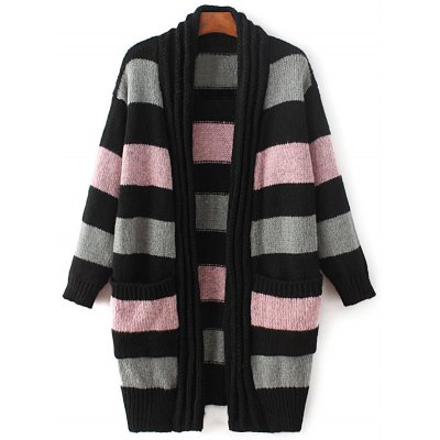 Long Sleeve Striped Thicken Cardigan