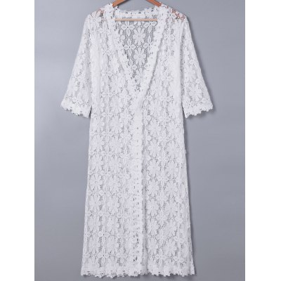 Lace 3/4 Sleeve Duster Coat For Women