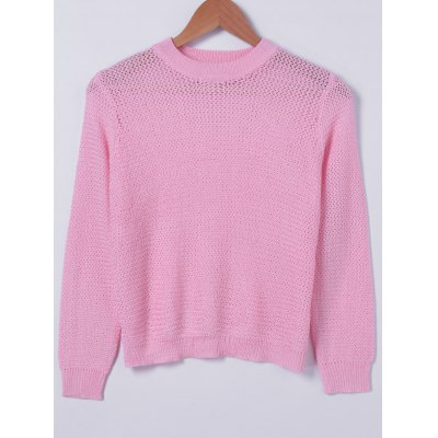 Round Neck Solid Color Long Sleeves Knitwear For Women