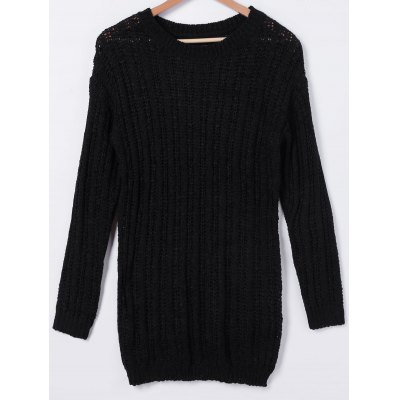 Stylish Scoop Neck Long Sleeves Solid Color Knitwear For Women