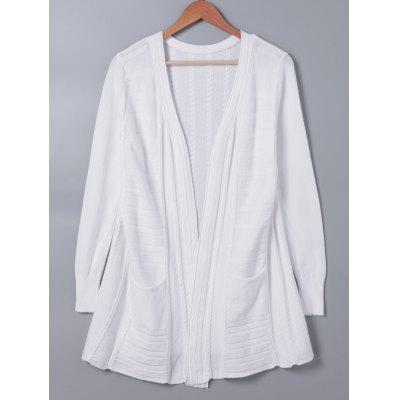 Casual Long Sleeves Solid Color Cardigan For Women