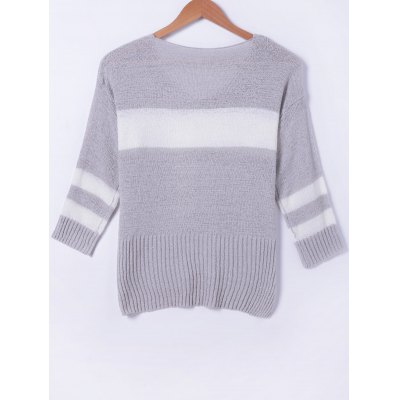 Stylish Stitching Color V-Neck Asymmetric Long Sleeves Knitwear For Women