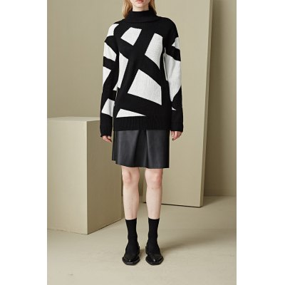 Turtleneck Geometric Pattern Sweater