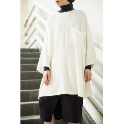 Single Pocket Loose Batwing Sleeve Sweater