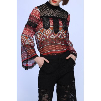 Lace Splicing Bell Sleeve Tee