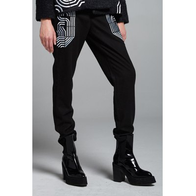 Wool Blend Embroidered Pants