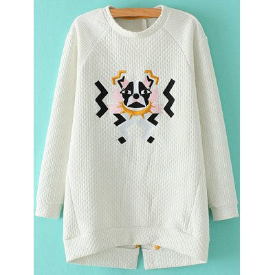 Preppy Style Stand Neck Cartoon Embroidered Sweatshirt For Women