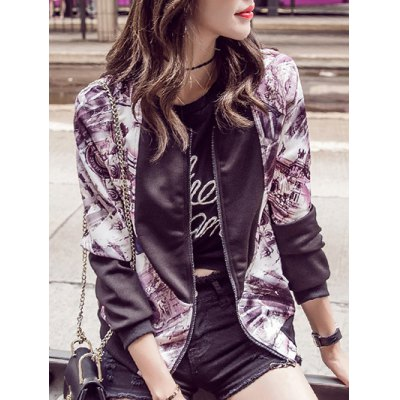 Stand Collar Splicing Bomber Jacket