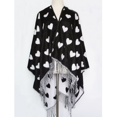 Sweet Heart Pattern Outdoor Warm Tassel Pashmina Scarf