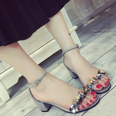 Stylish Block Heel and Flowers Design Sandals For Women