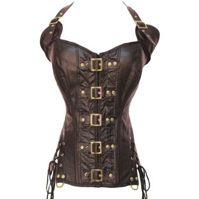 Stunning Gothic Lace Up Halter Latex Corset
