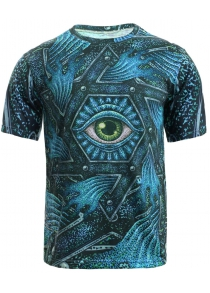 3D Geometric and Print Round Neck Short Sleeve T-Shirt For Men