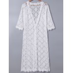 Sweet 3/4 Sleeve Lace Duster Coat For Women