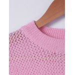 Casual Round Neck Long Sleeves Solid Color Knitwear For Women deal