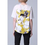cheap Floral Spliced Pullover Tee