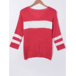 cheap Stylish Stitching Color V-Neck Asymmetric Long Sleeves Knitwear For Women