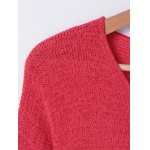 Stylish Stitching Color V-Neck Asymmetric Long Sleeves Knitwear For Women deal
