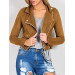 Chic Lapel Collar Long Sleeve Suede Zipper Up Jacket For Women